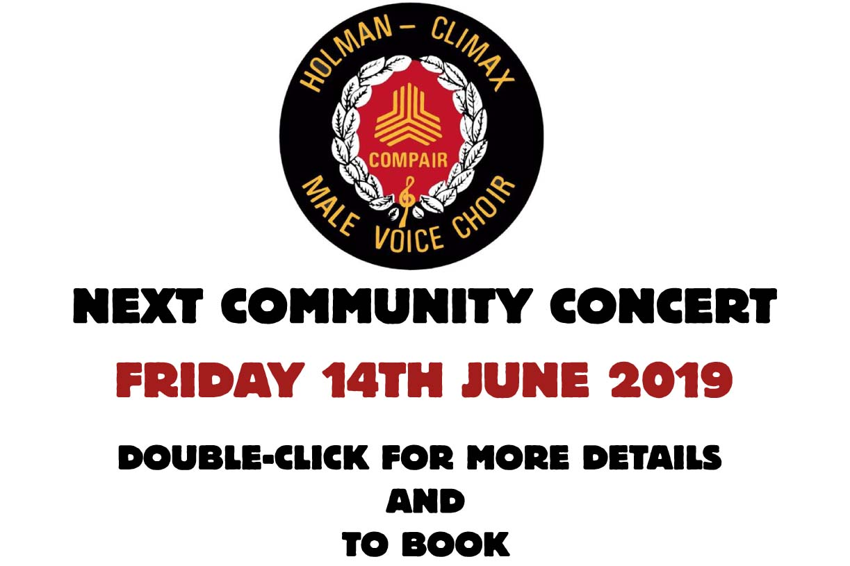 COMMUNITY CONCERT - FRIDAY 14TH JUNE 2019 - DOUBLE CLICK FOR DETAILS