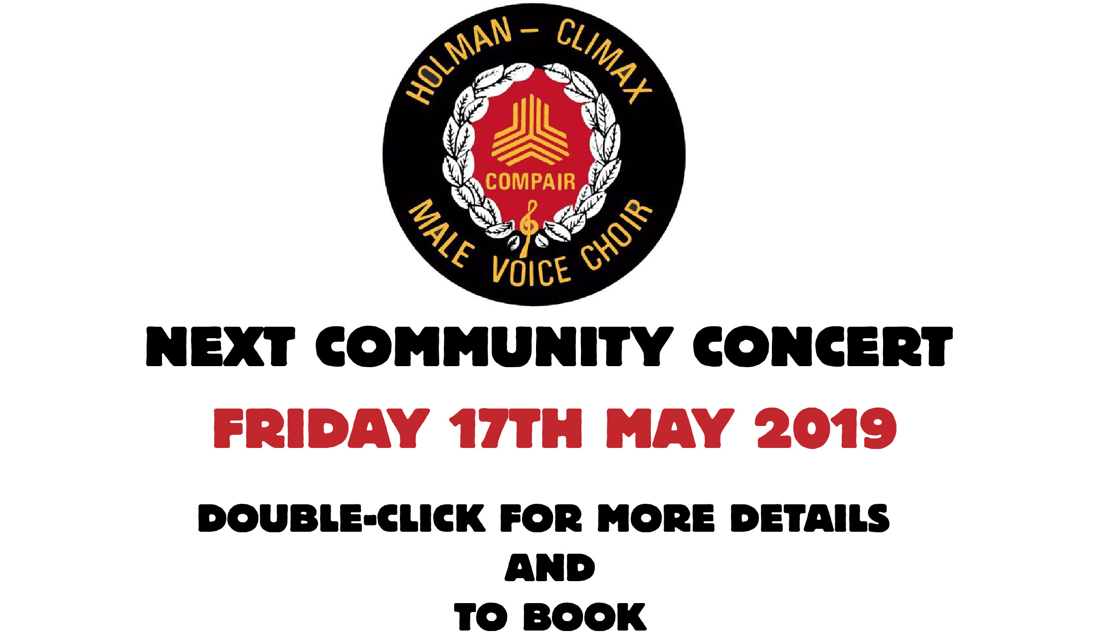COMMUNITY CONCERT - FRIDAY 17TH MAY 2019 - DOUBLE CLICK FOR DETAILS
